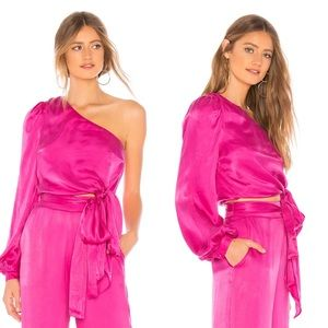 Lovers + Friends Kendall Blouse in Hot Magenta